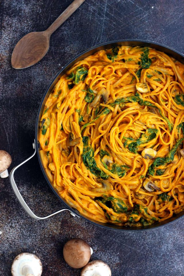 Healthy Pumpkin Recipes Dinner  Healthy Pumpkin Pasta with Spinach and Mushrooms • Happy