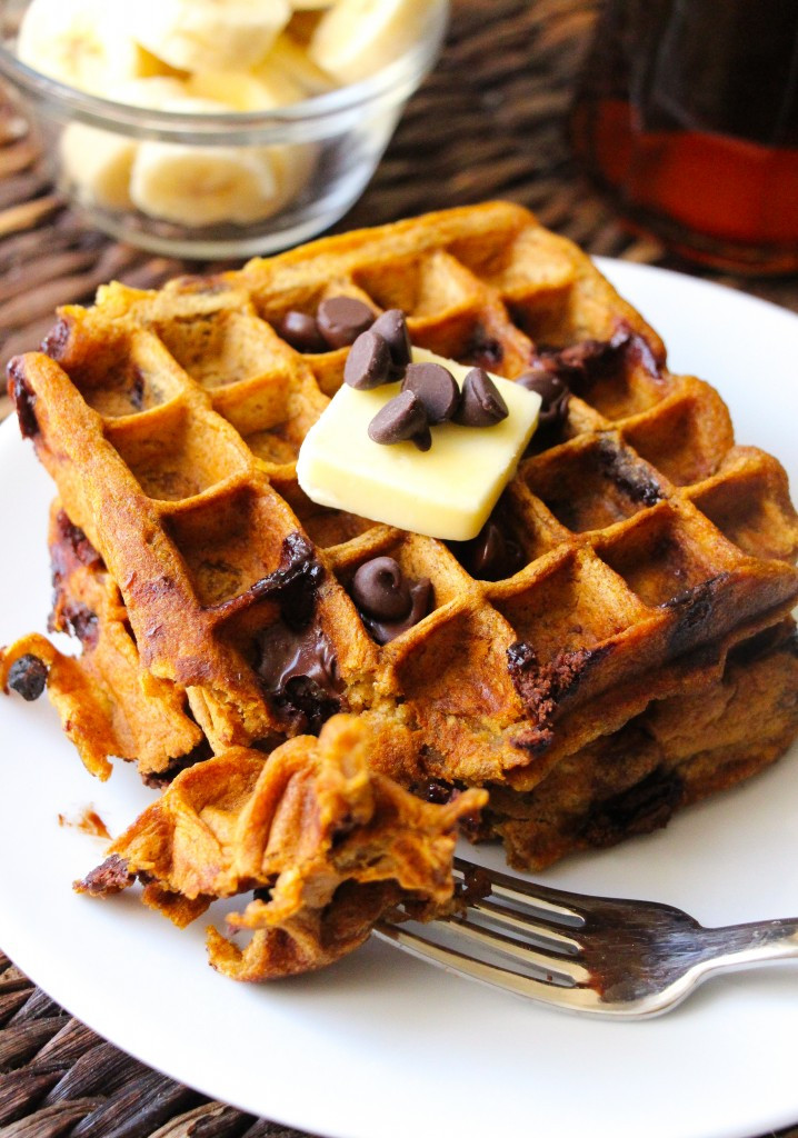 Healthy Pumpkin Waffles  Healthy Pumpkin Chocolate Chip Waffles Layers of Happiness