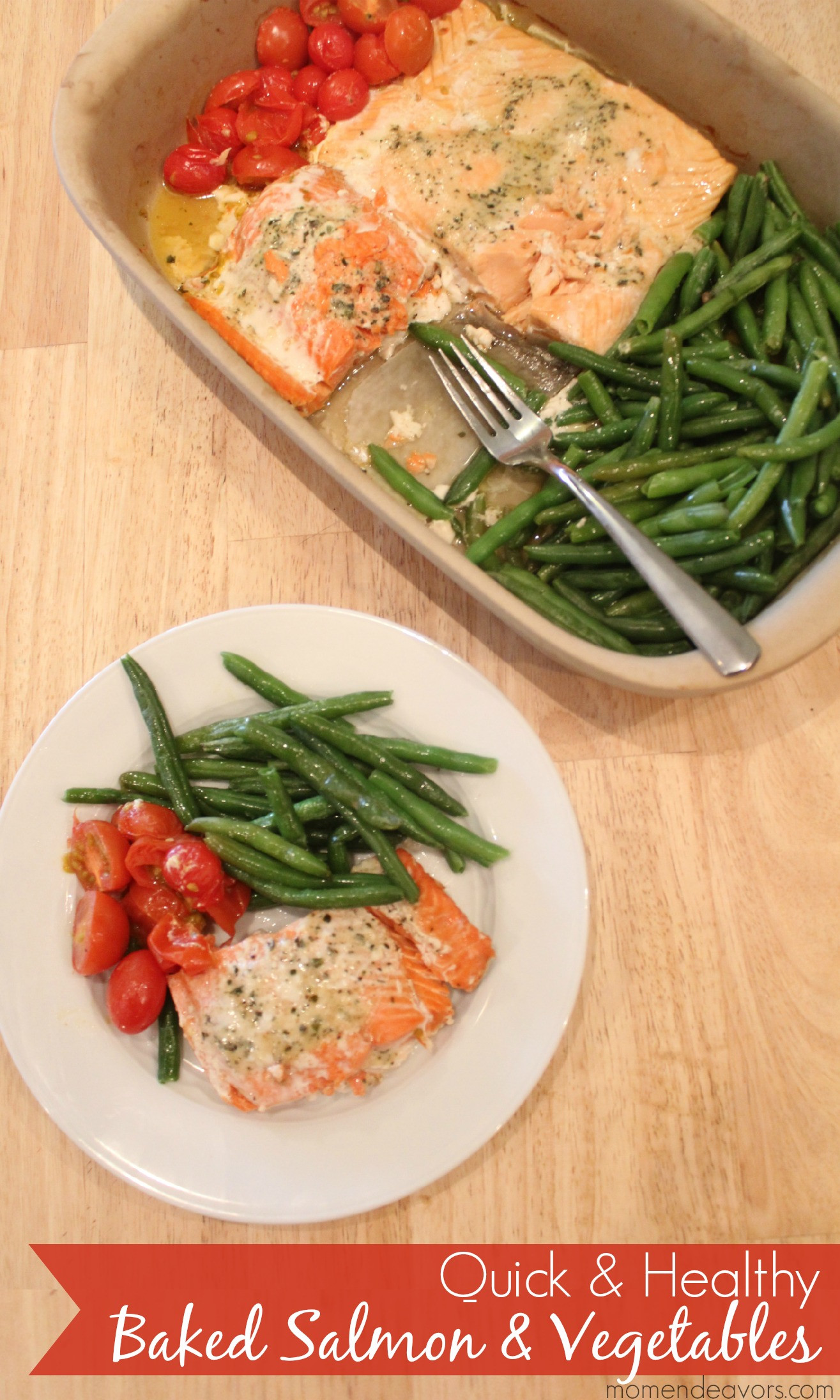 Healthy Quick Dinner  Quick & Healthy Recipe e Pan Baked Salmon & Ve ables