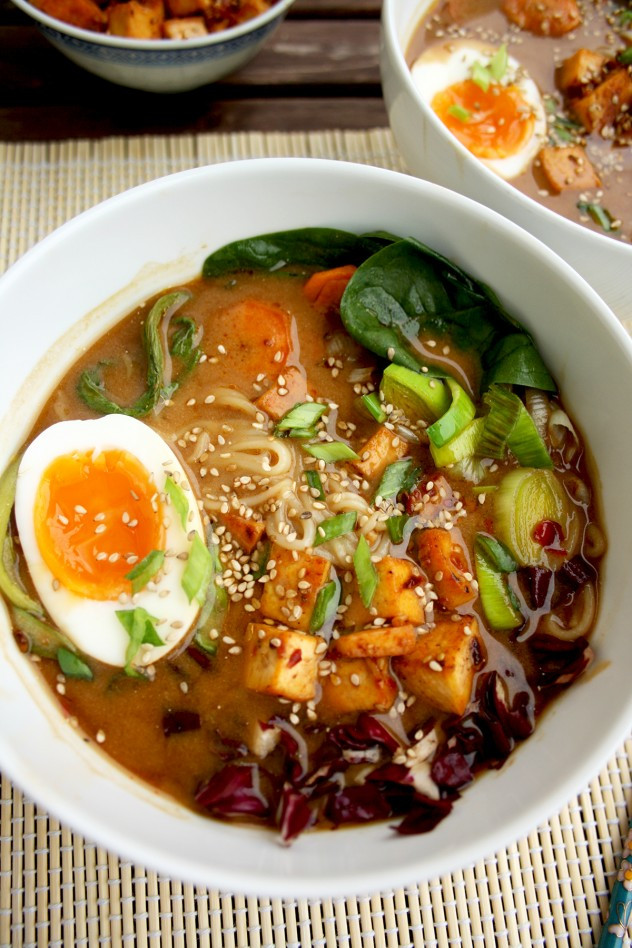Healthy Ramen Noodles  Healthy Ramen with Rice Noodles Tofu and Veggies • Happy