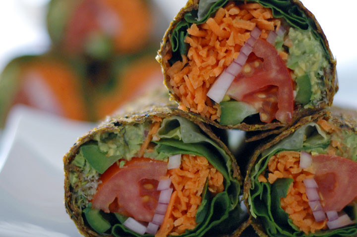 Healthy Raw Vegan Recipes  Raw Guacamole Burrito in Zucchini & Flaxseed Wrap