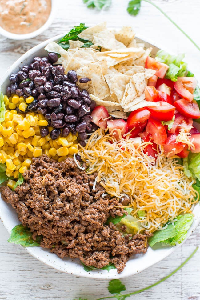 Healthy Recipe With Ground Beef  Loaded Beef Taco Salad