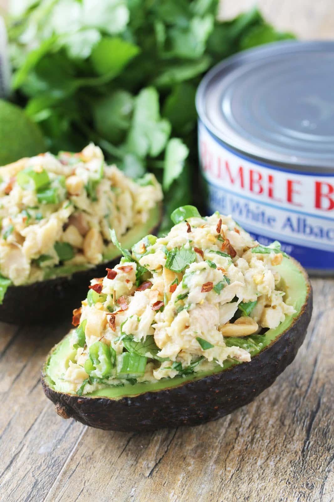 Healthy Recipes With Avocado  Healthy Thai Tuna Stuffed Avocado