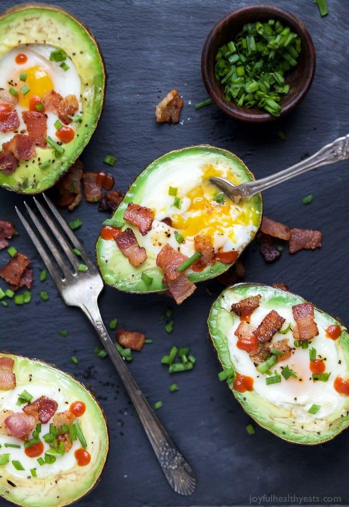 Healthy Recipes With Avocado  Bacon Baked Egg in Avocado