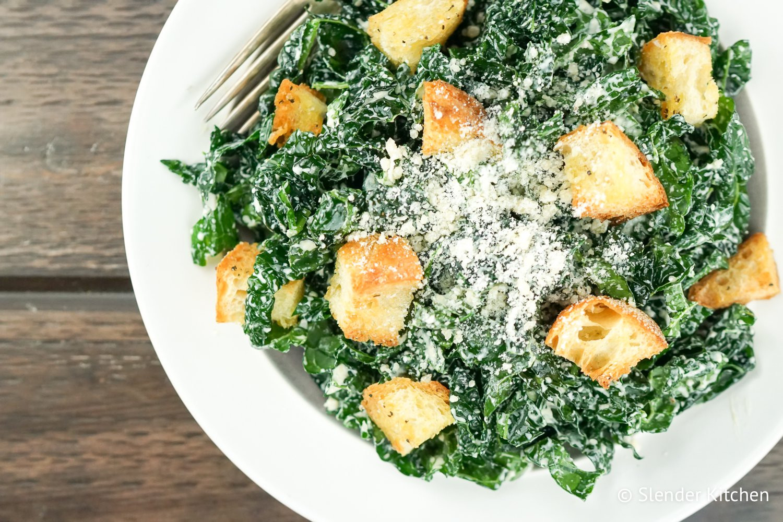 Healthy Recipes With Kale  Healthy Kale Caesar Salad Slender Kitchen