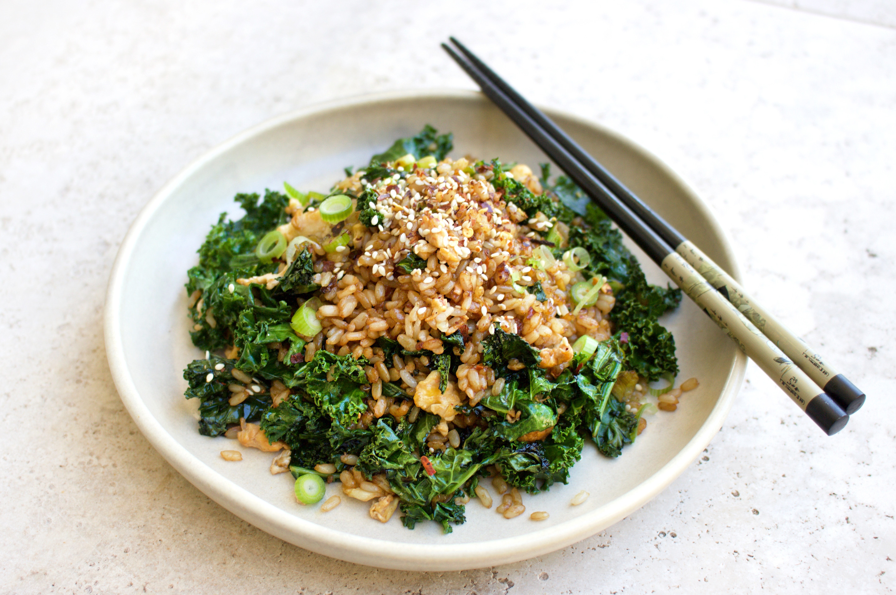 Healthy Recipes With Kale  Healthy Fried Rice Recipe w Kale Garlic & Chili