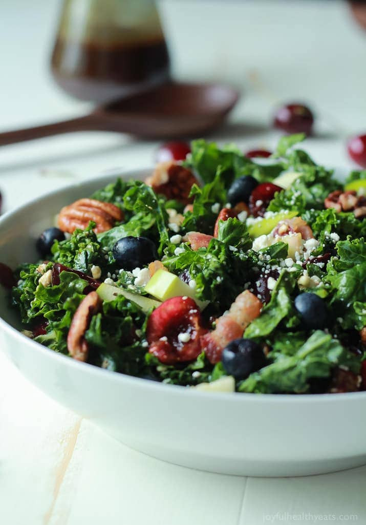 Healthy Recipes With Kale  Cherry Summer Kale Salad with Balsamic Vinaigrette