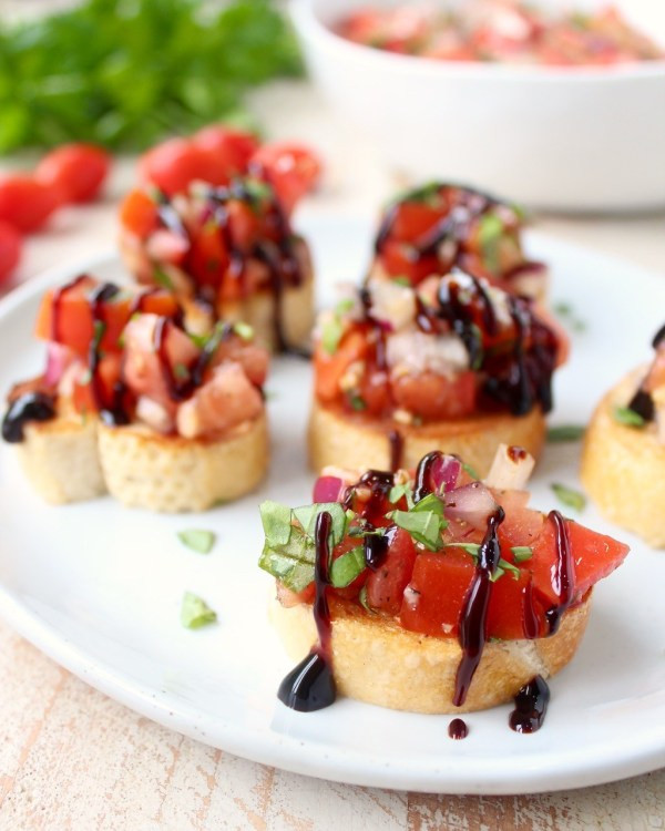 Healthy Restaurant Appetizers  Tomato Basil Bruschetta Recipe WhitneyBond