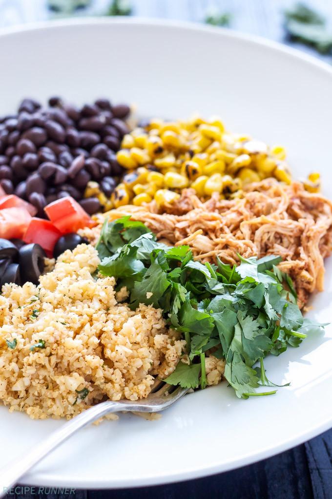 Healthy Rice Bowl Recipes  Chicken Enchilada Cauliflower Rice Bowls Recipe Runner
