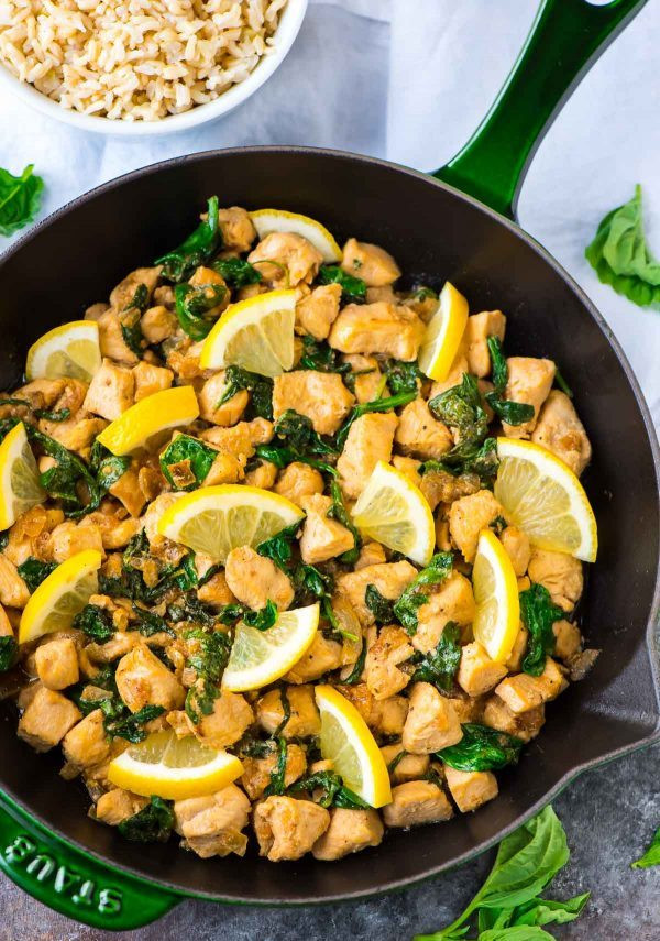 Healthy Rice Side Dishes For Chicken  Basil Chicken with Lemon and Spinach