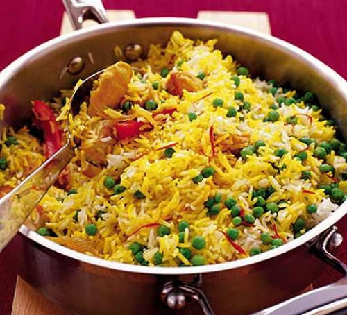 Healthy Rice Side Dishes For Chicken  Saffron rice with chicken & peppers recipe