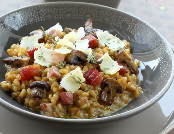 Healthy Risotto Recipes  Spelt recipes Spelt Risotto With Goat Cheese And Ham