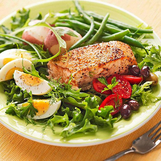Healthy Salads For Dinner  Grilled Salmon Salad Nicoise Recipe