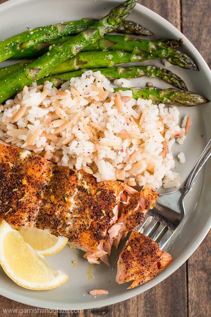 Healthy Salmon Dinner  20 Minute Simple Salmon & Asparagus Garnish & Glaze