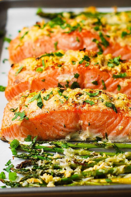 Healthy Salmon Dinner  Garlic Parmesan Crusted Salmon and Asparagus Julia s Album