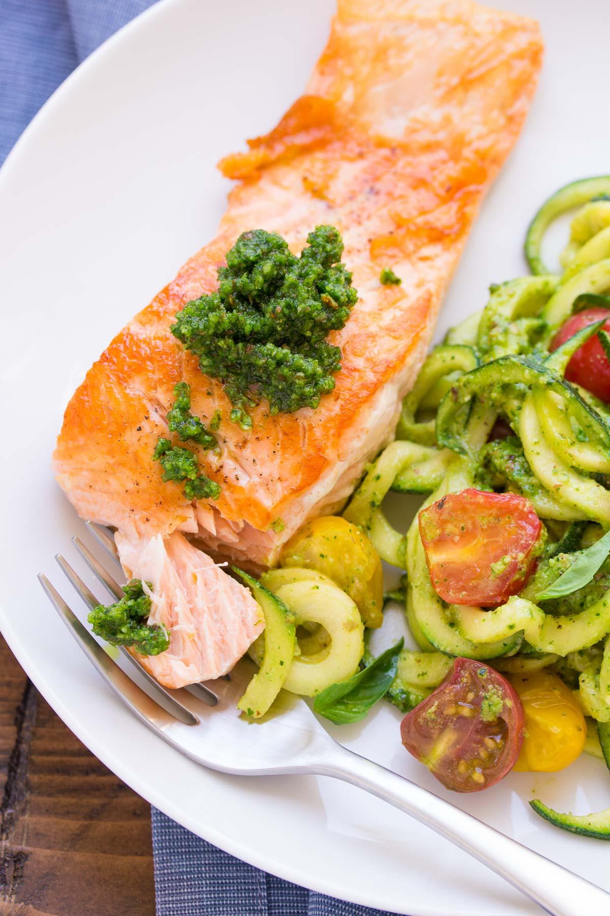 Healthy Salmon Dinner  Kale Pesto Zucchini Noodles and Salmon Kristine s Kitchen
