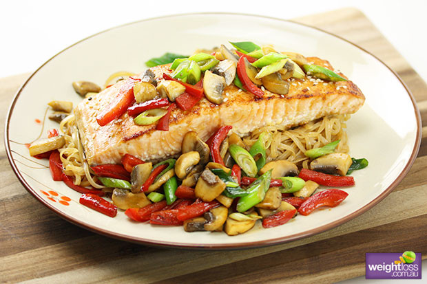 Healthy Salmon Recipes For Weight Loss  Glazed Salmon with Noodles