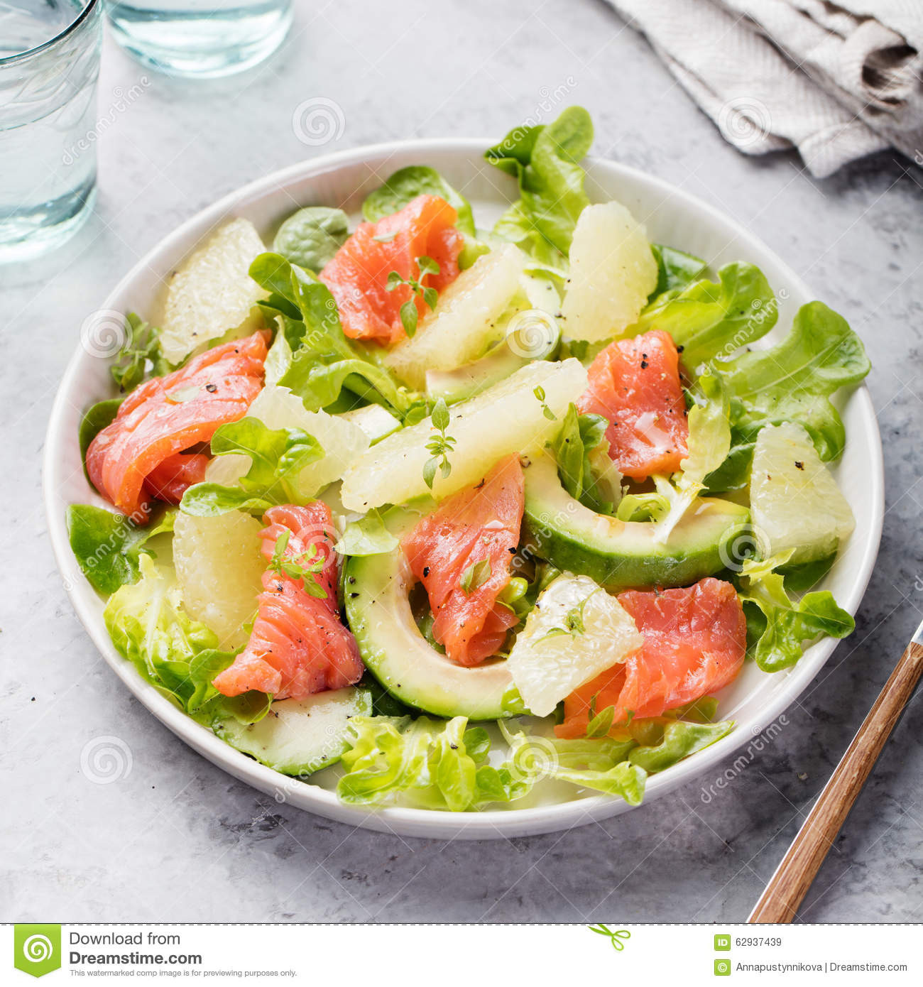 Healthy Salmon Salad  Smoked Salmon Salad With Avocado Grapefruit Stock