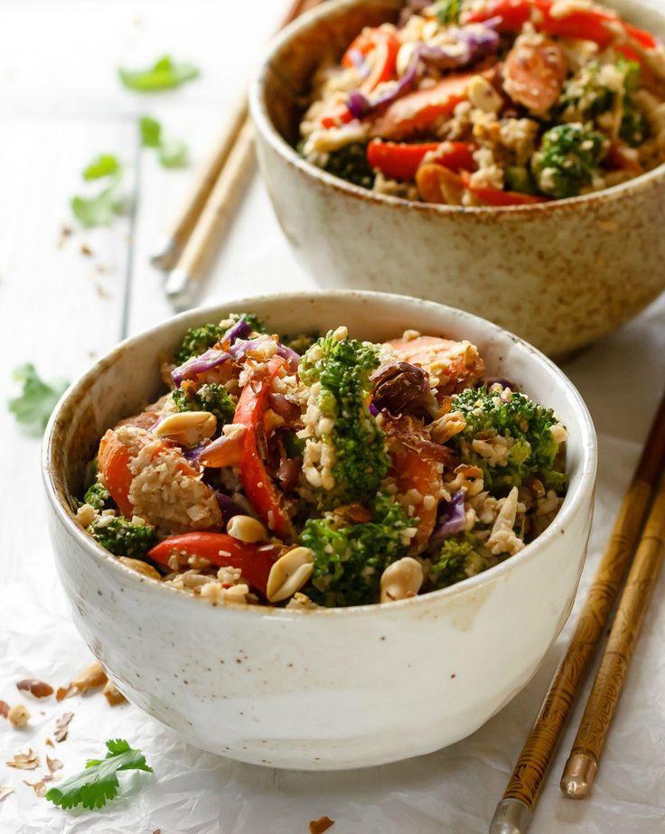 Healthy Sauces For Rice  Super Veggie Peanut Sauce Stir Fry with Cauliflower Rice
