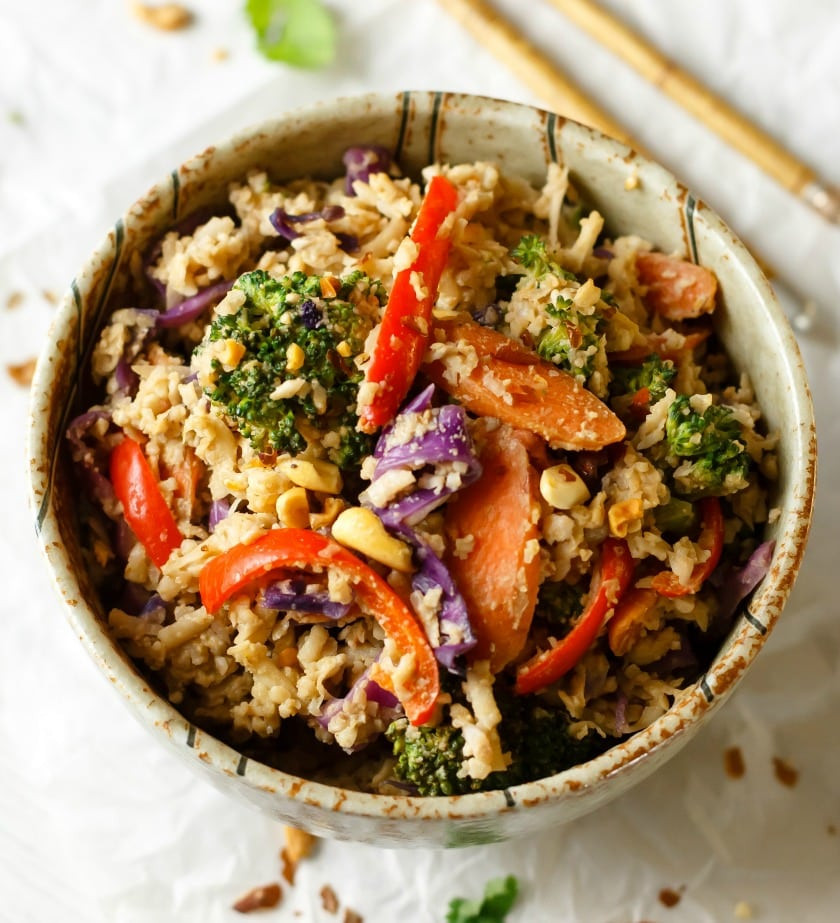 Healthy Sauces For Rice  Peanut Sauce Stir Fry with Veggies and Cauliflower Rice
