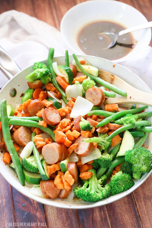 Healthy Sauces For Vegetables  Sweet Potato Stir Fry Chicken Sausage Gluten Free