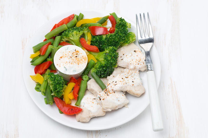 Healthy Sauces For Vegetables  Healthy Food Chicken Steamed Ve ables And Yoghurt