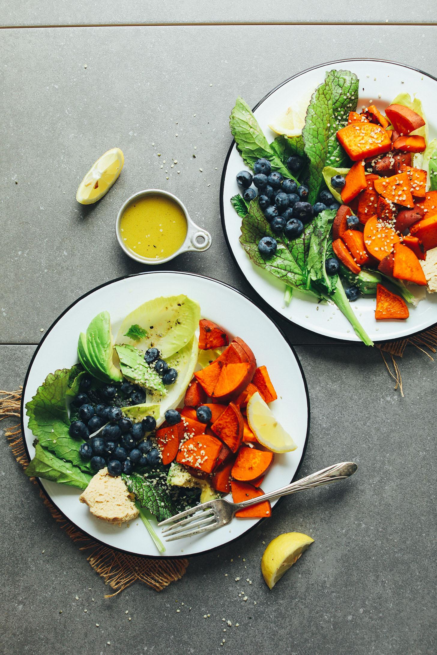 Healthy Savory Breakfast  Blueberry Sweet Potato Breakfast Salad