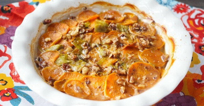 Healthy Scalloped Sweet Potatoes  Dairy Free Scalloped Sweet Potatoes with Can d Pecans