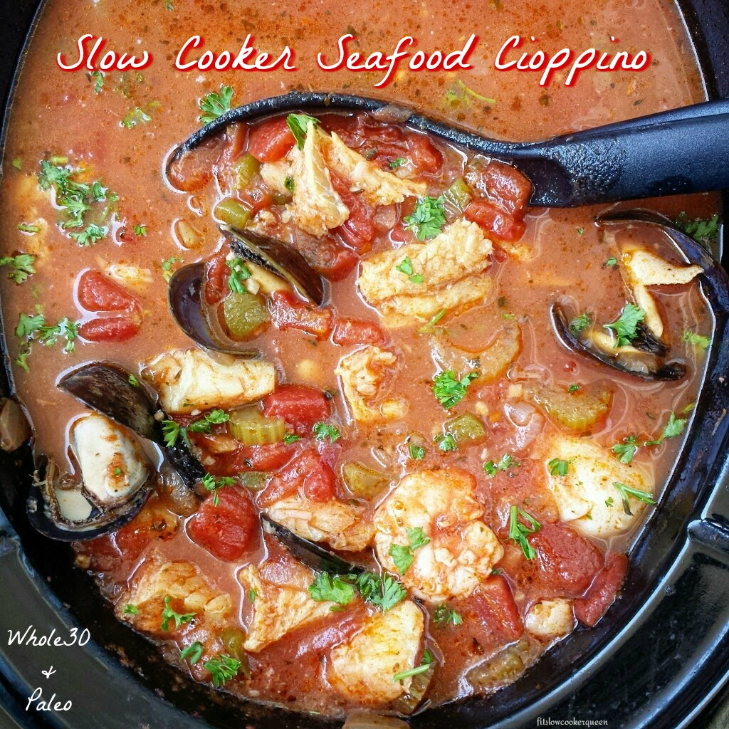 Healthy Seafood Slow Cooker Recipes  Slow Cooker Seafood Cioppino Fit Slow Cooker Queen