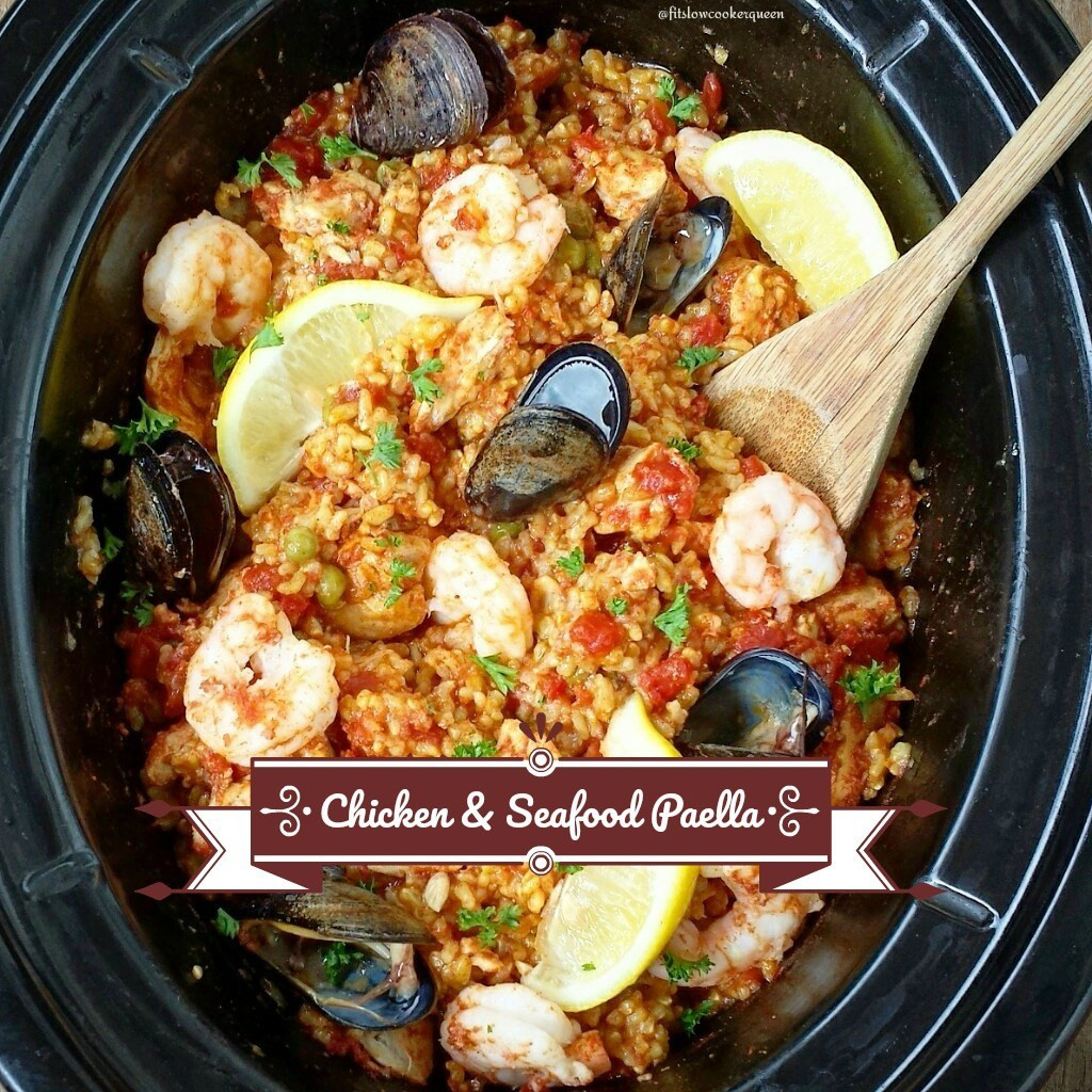 Healthy Seafood Slow Cooker Recipes  Slow Cooker Chicken & Seafood Paella Fit Slow Cooker Queen