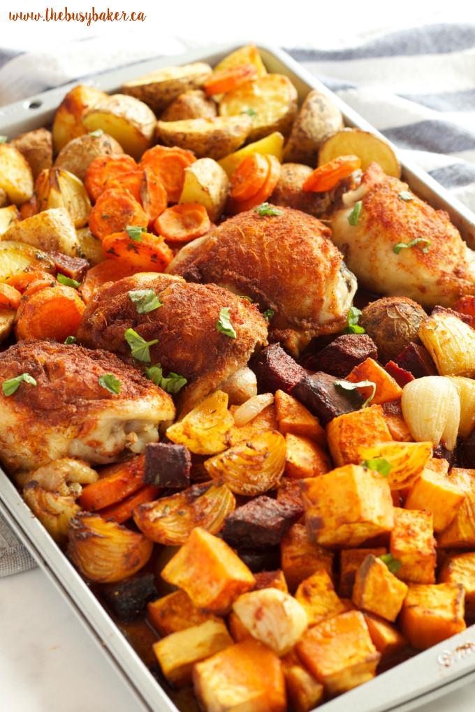 Healthy Sheet Pan Dinners  Paprika Chicken Sheet Pan Dinner The Busy Baker