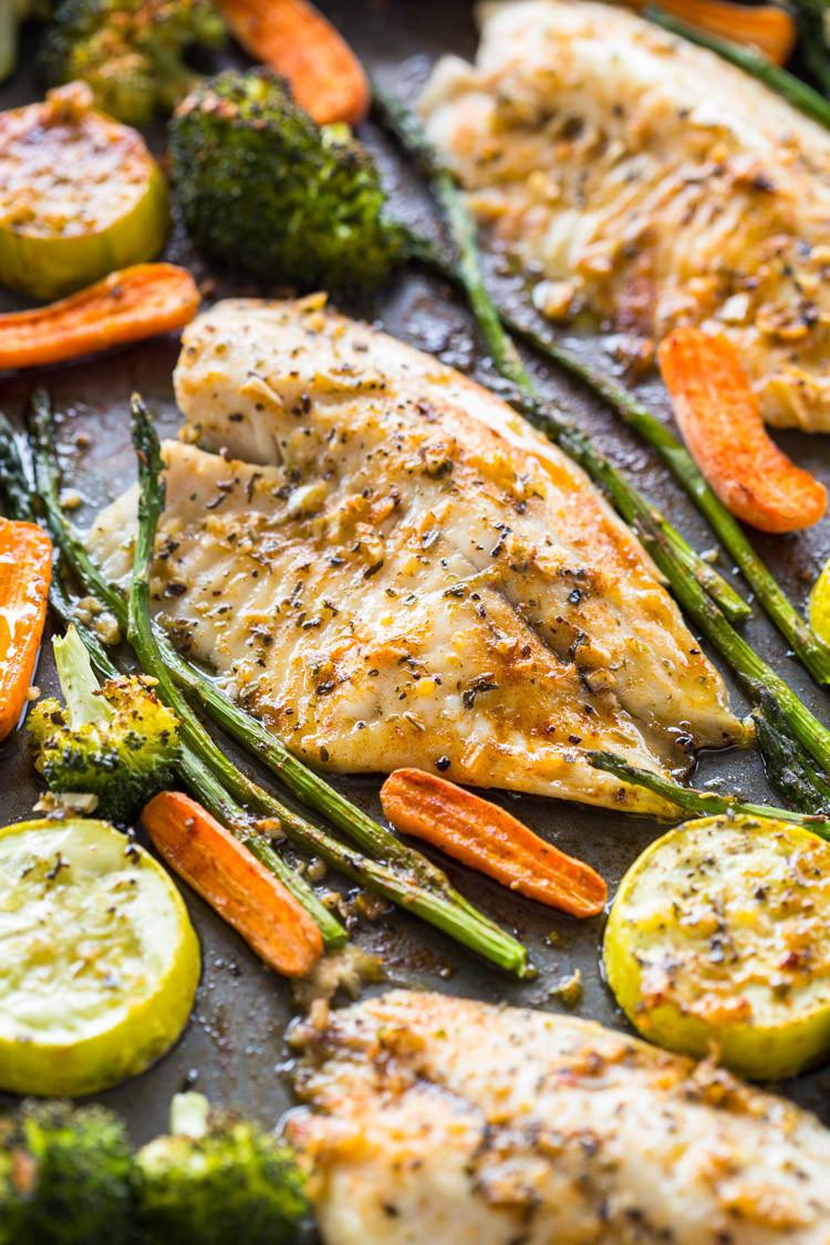 Healthy Sheet Pan Dinners  Healthy Sheet Pan Tilapia and Veggies Meal Prep