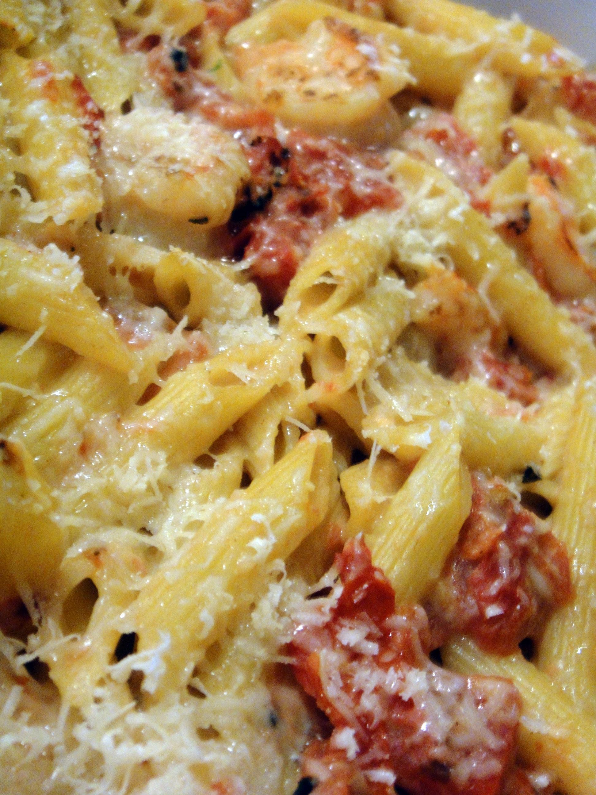 Healthy Shrimp And Pasta  Creamy Cheesy Healthy Shrimp Pasta Cake n Knife