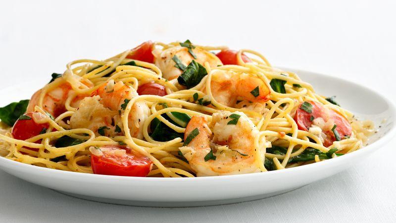 Healthy Shrimp And Pasta  Skinny Garlic Shrimp Pasta recipe from Betty Crocker