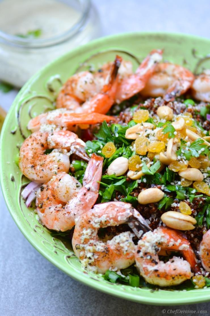 Healthy Shrimp And Quinoa Recipes  Roasted Shrimp and Quinoa Salad with Ginger Hemp Dressing