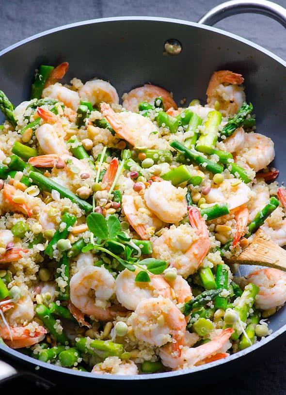 Healthy Shrimp And Quinoa Recipes  Garlic Butter Shrimp Quinoa and Asparagus iFOODreal