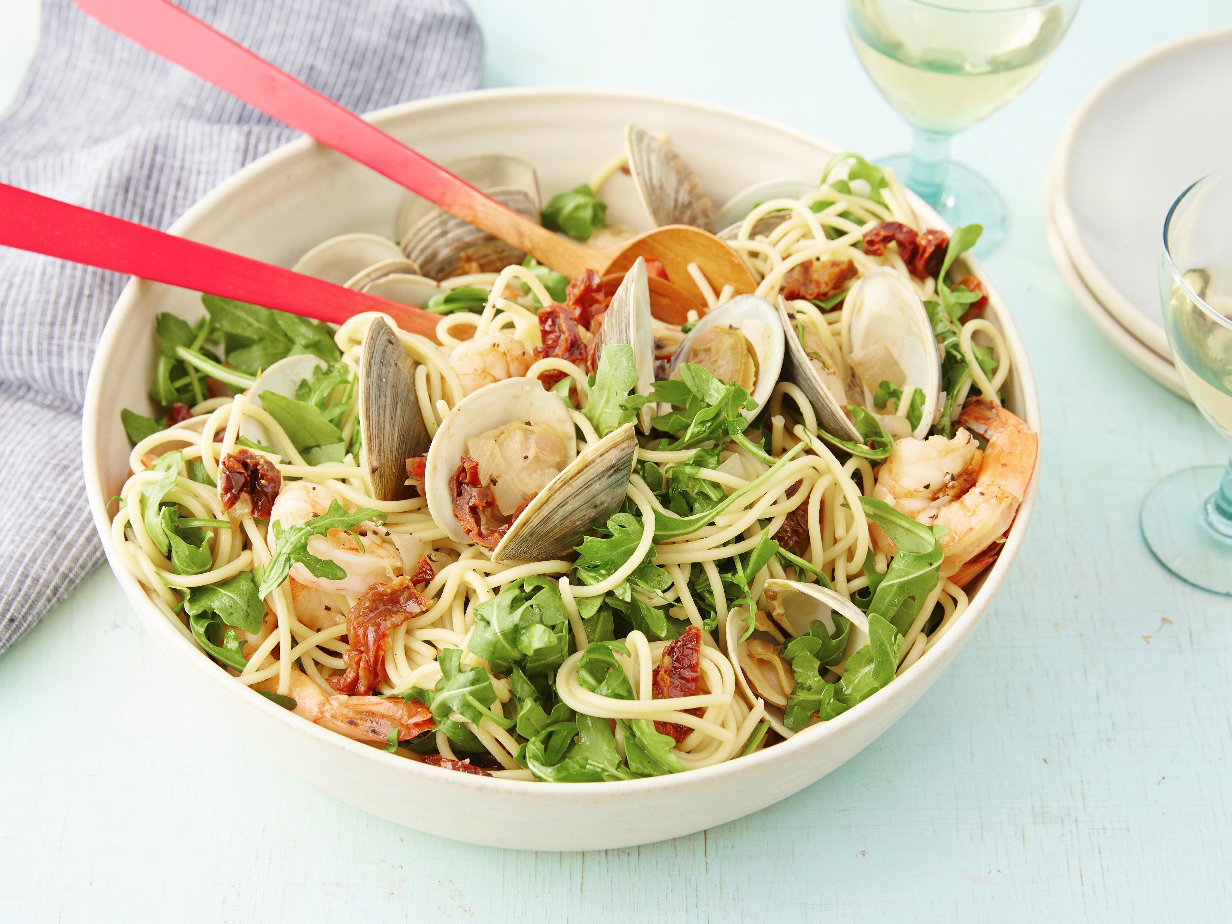 Healthy Shrimp Pasta Recipes Food Network  Spaghetti with Pinot Grigio and Seafood Recipe Giada De