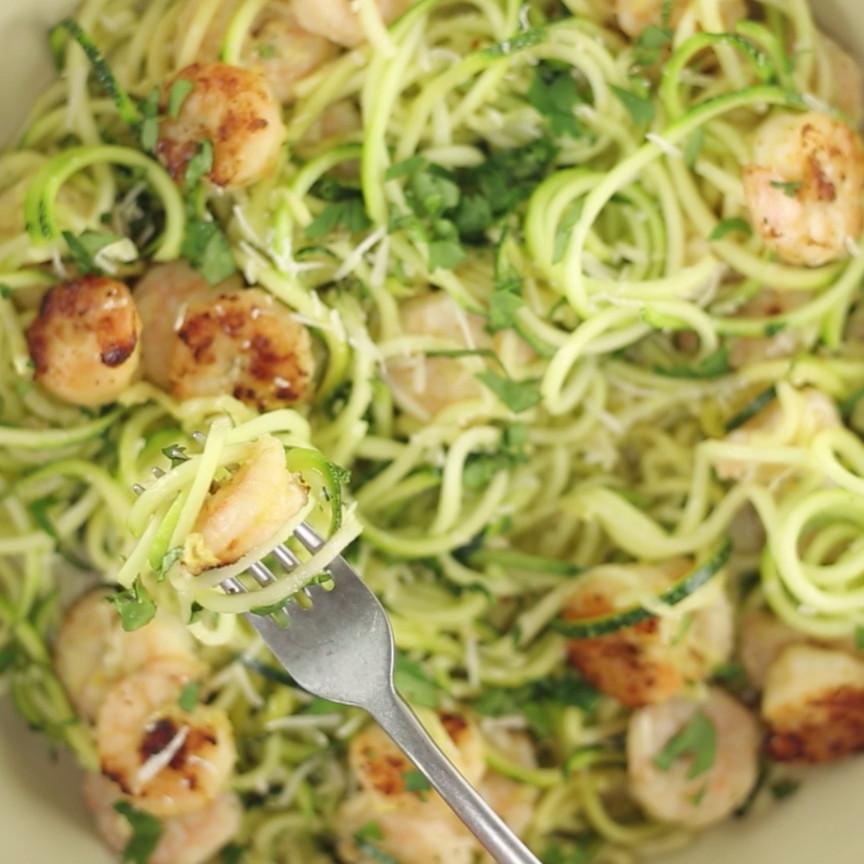 Healthy Shrimp Recipes Low Carb  e Pot Spiralized Zucchini Shrimp Scampi