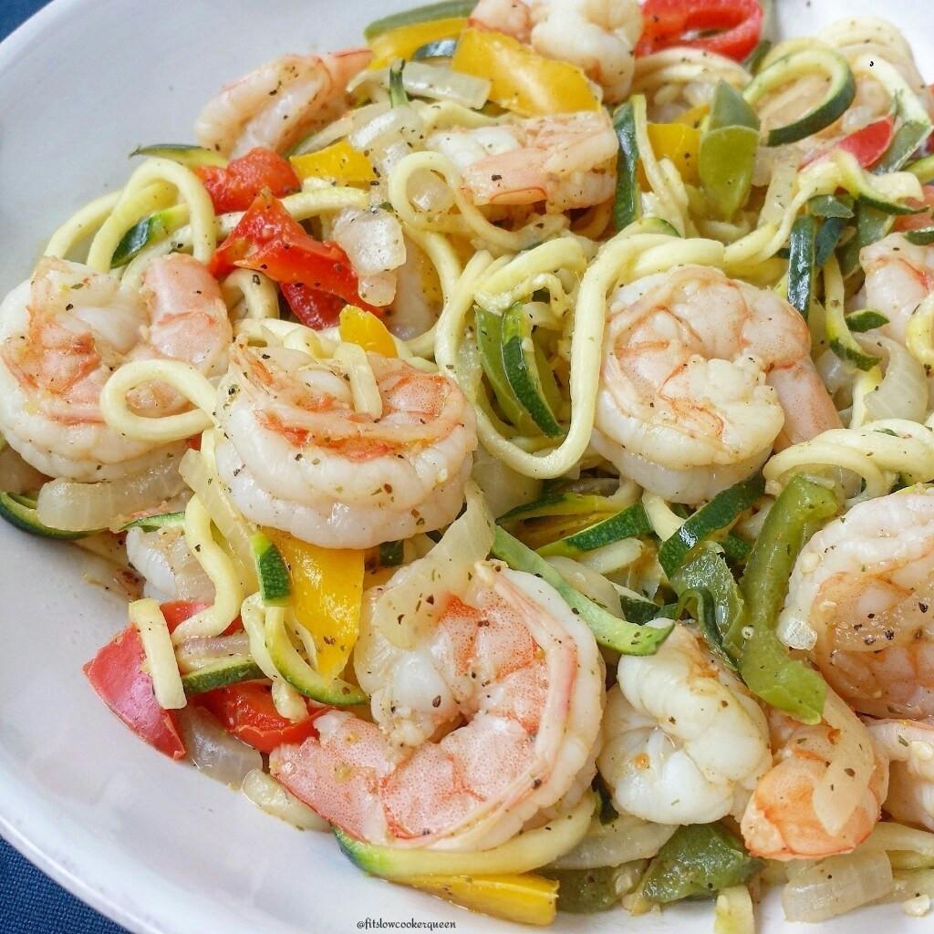 Healthy Shrimp Recipes Low Carb  Low Carb Shrimp Stir Fry with Zoodles Fit Slow Cooker Queen