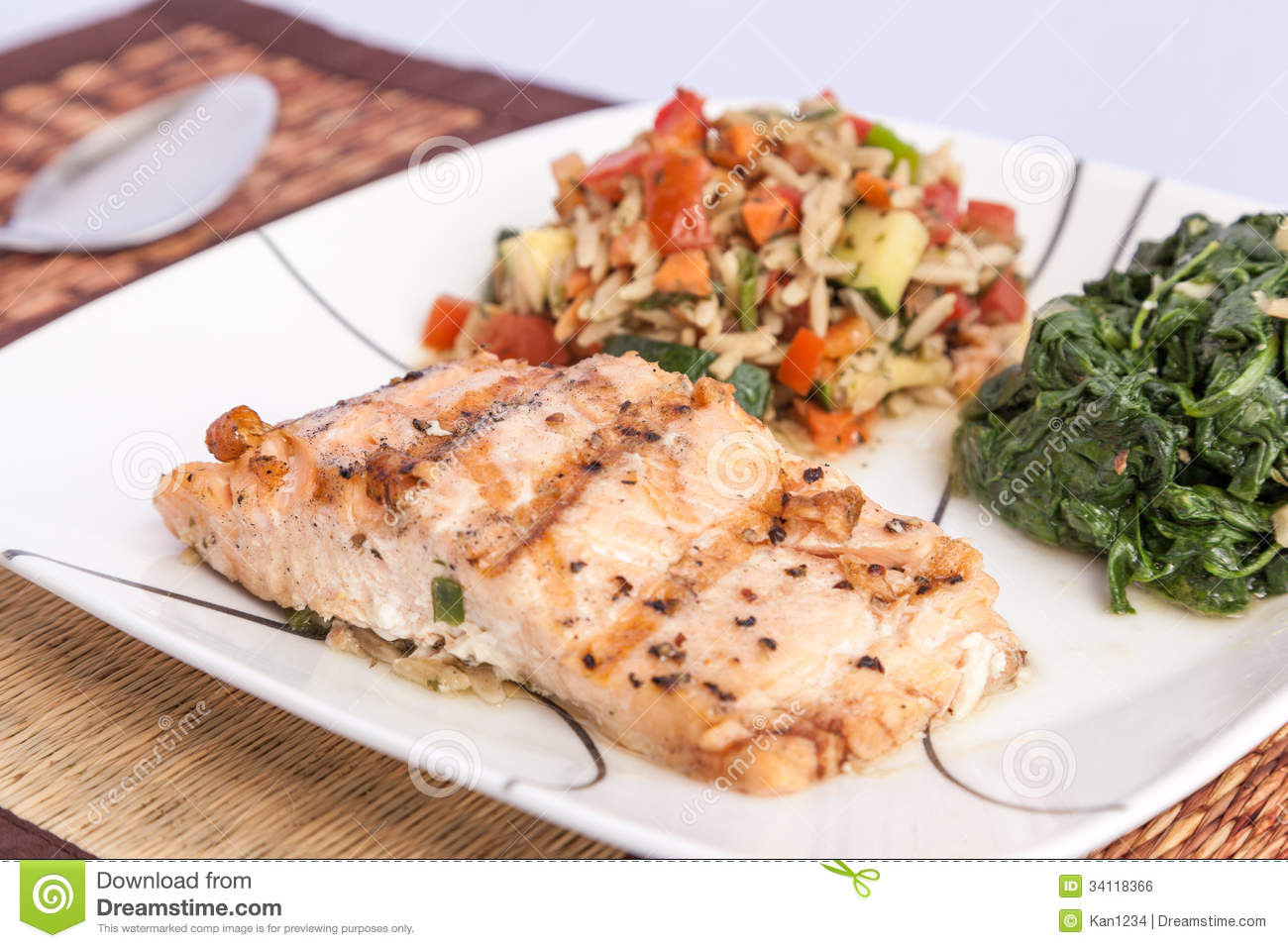 Healthy Side Dishes For Fish  Delicious Grill Salmon With Side Dishes Stock