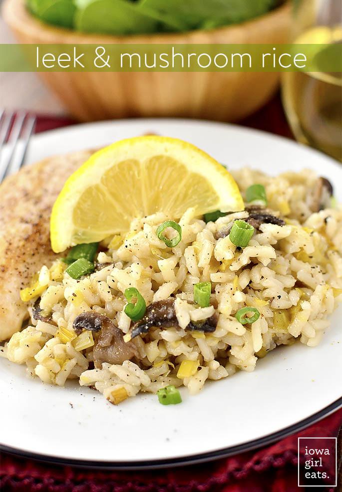 Healthy Side Dishes For Fish  Leek and Mushroom Rice Iowa Girl Eats