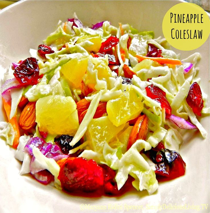 "Healthy Side Dishes For Hamburgers  This simply delicious ""Pineapple Coleslaw"" is light tangy"