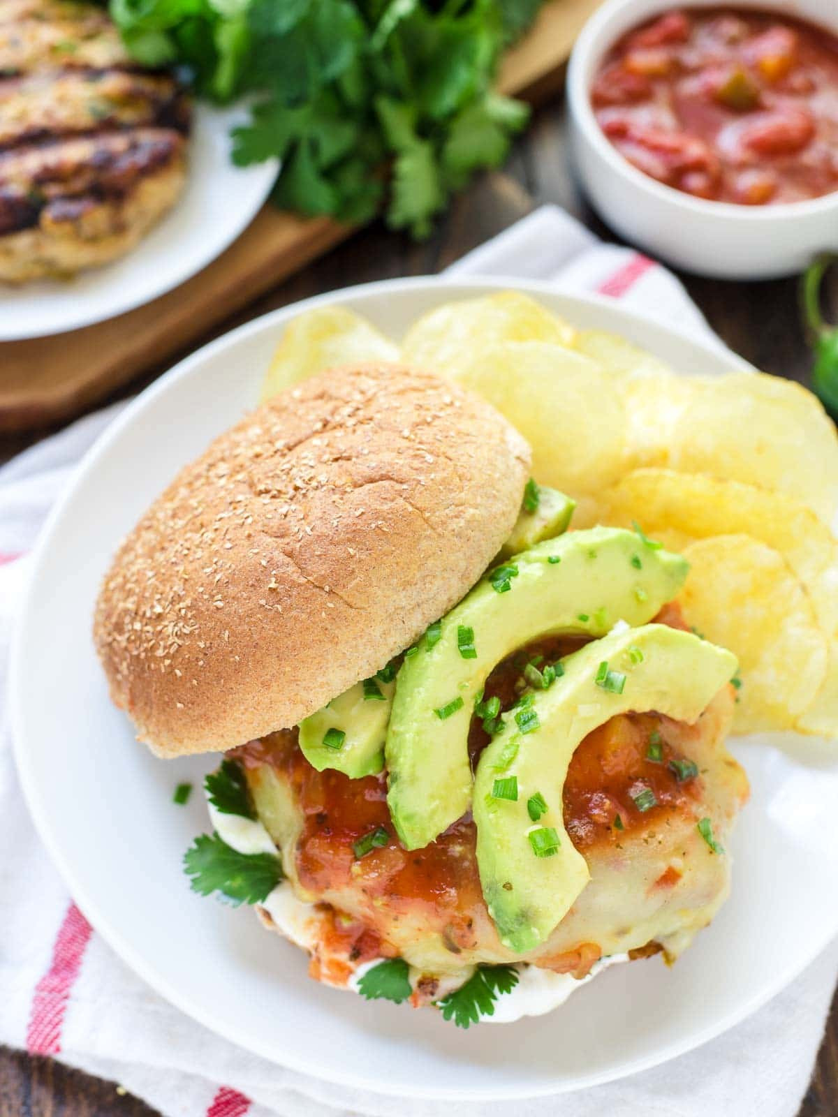 Healthy Side Dishes For Hamburgers  Green Chile Grilled Chicken Burgers