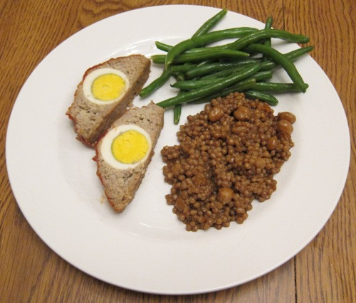 Healthy Side Dishes For Meatloaf  Dinner Stuffed Meatloaf With Egg Green Beans And