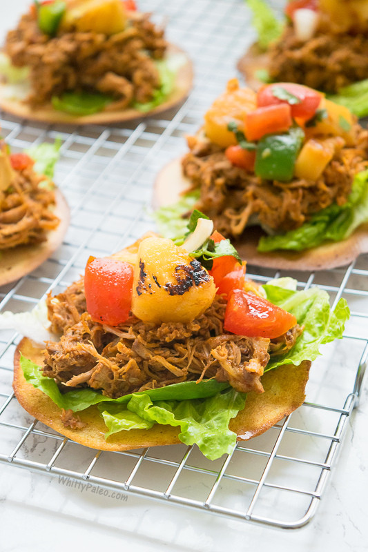 Healthy Side Dishes For Pulled Pork  Healthy BBQ Pulled Pork Mexican Tostada Recipe WhittyPaleo