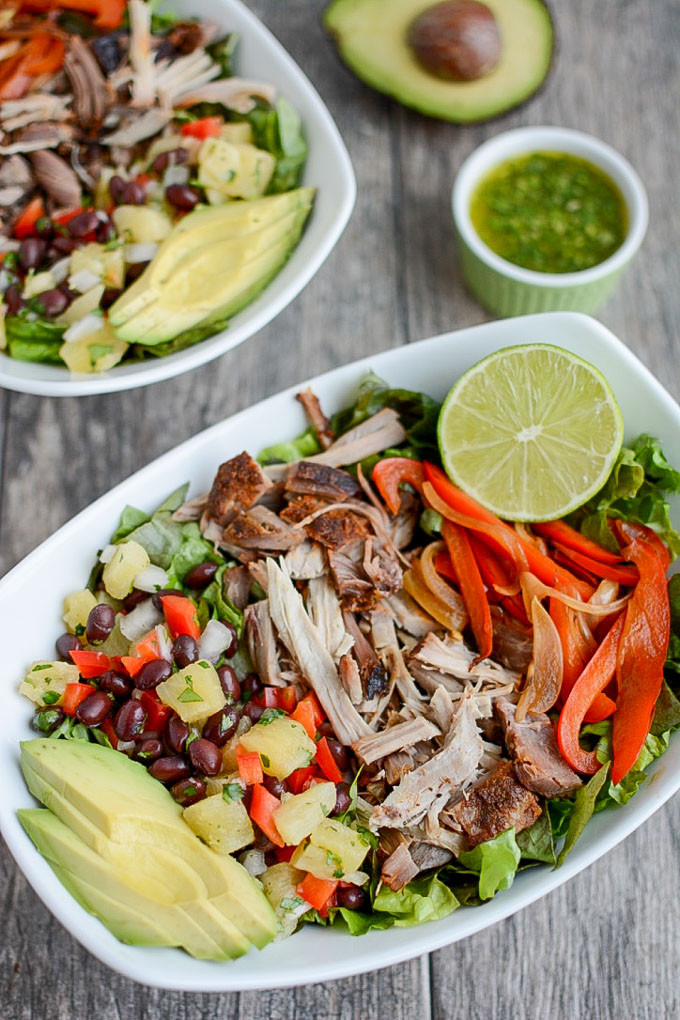 Healthy Side Dishes For Pulled Pork  Pulled Pork Fajita Salad with Pineapple Salsa