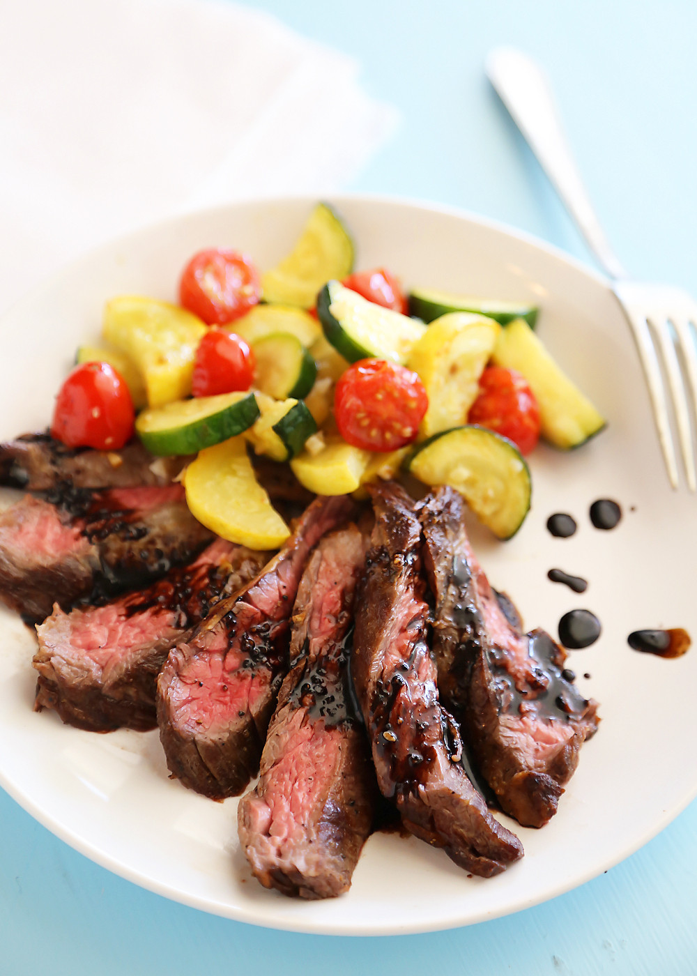 Healthy Side Dishes For Steak  Skillet Balsamic Skirt Steak with Garlic Zucchini Squash