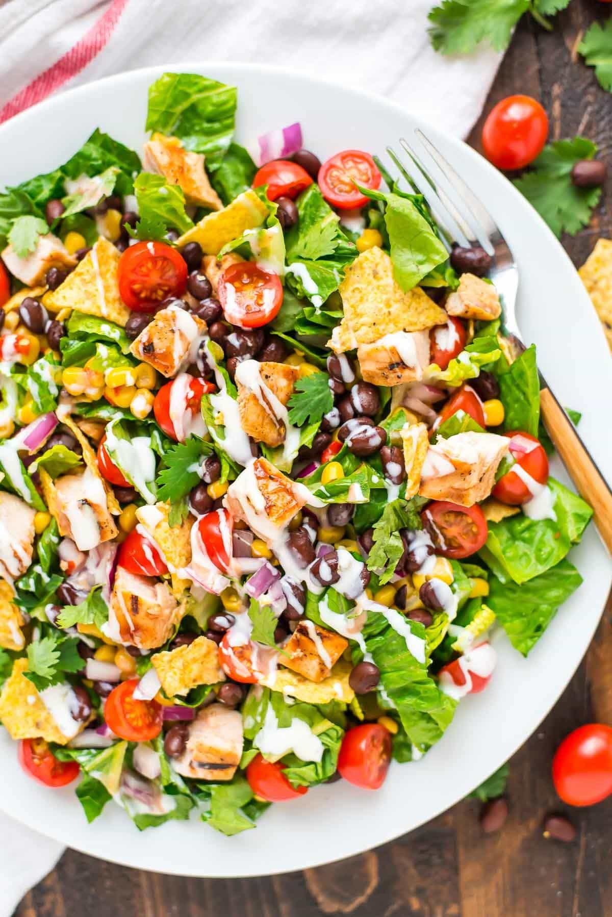 Healthy Side Salads  BBQ Chicken Salad with Creamy Ranch