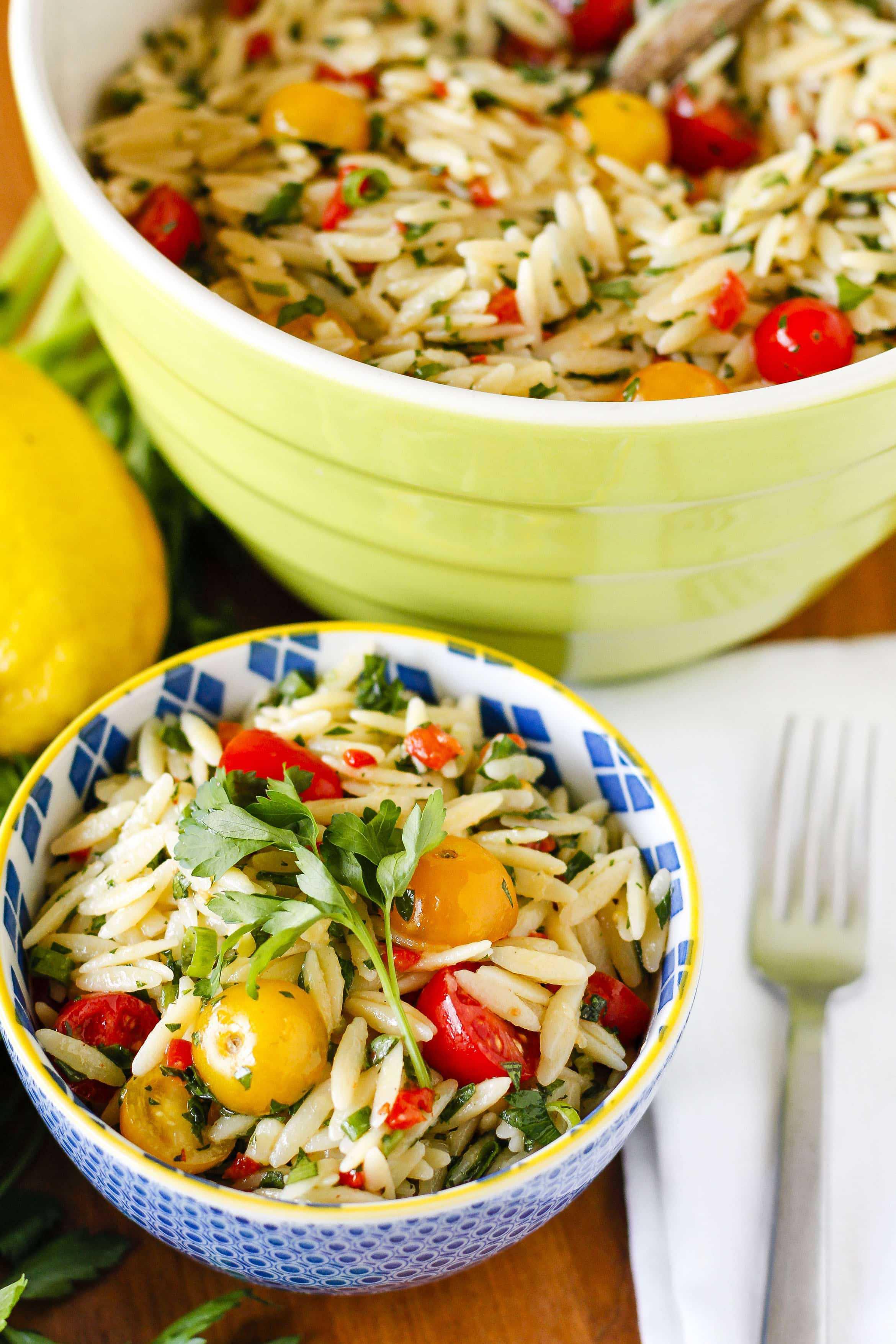 Healthy Side Salads  Lemony Basil Orzo Salad Recipe Favorite Potluck Side
