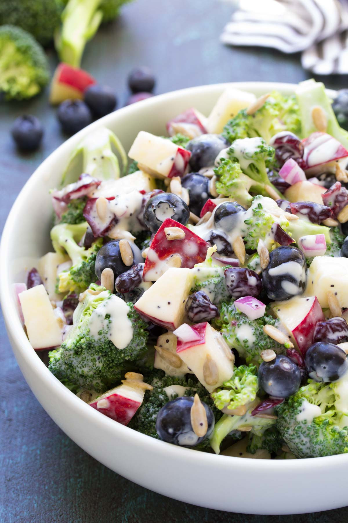 Healthy Side Salads  No Mayo Broccoli Salad with Blueberries and Apple Recipe